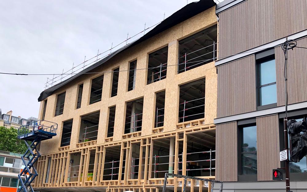 Construction mur ITE bois